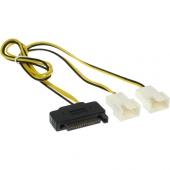 Cable Ladrón Alimentación SATA Macho a 2 Ventiladores 2 Pin 30 cm