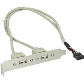 Bracket USB 2.0 10 pin Interno a 2 USB 2.0 A Hembra 35 cm
