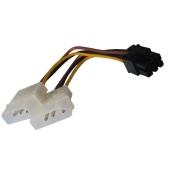 Cable Adaptador 2 MOLEX Macho a PCI-E 6 pin VGA